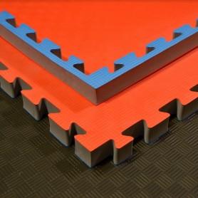 Tapis de sol - Tapis d'arts martiaux bleu/rouge 100x100x4cm