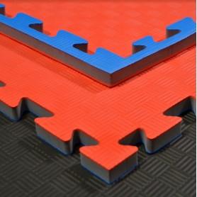 Tapis de sol - Tapis d'arts martiaux rouge/bleu 100x100x2cm