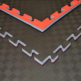 Tapis de sol - Tapis d'arts martiaux noir/rouge 100x100x2cm