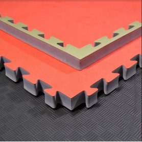 Tapis de sol - Tapis d'arts martiaux vert/rouge 100x100x4cm