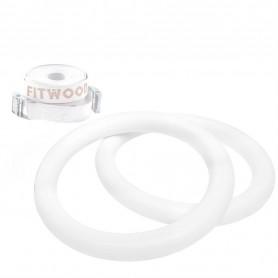 Anneaux de gymnastique Fitwood Premium HJØRUND, version bois en blanc glacé avec boucle blanche