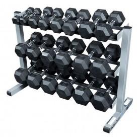 Body Solid Hexagon dumbbell set 2-22,5kg incl. dumbbell rack narrow