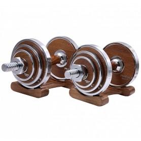 Ensemble d'haltères Proiron 2 x 10kg avec étagères en bois de noyer/finition acier