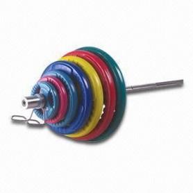 135kg Olympia Langhantelsatz, gummiert, farbig