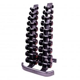 Jeu d'haltères Jordan en caoutchouc 1-10kg avec support vertical (JTFDS