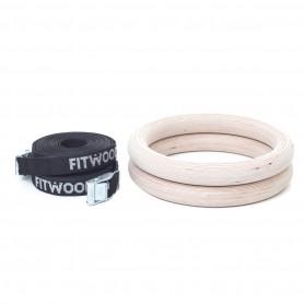 Premium gymnastic rings, wooden version with black loop