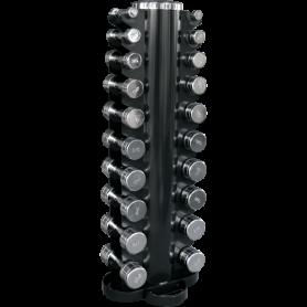Jeu d'haltères 1-10kg chromé avec support vertical (CHDUSET)