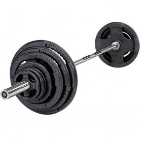 135kg Olympia Langhantelsatz, guss, schwarz