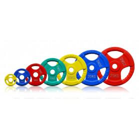 Hantelscheiben 51mm 3D, farbig, gummiert