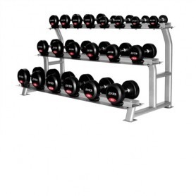 Jordan dumbbell set rubberized 2,5-25kg with stand 3-ply
