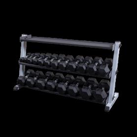 Body Solid Kurzhantel-/Kettlebellständer breit, 3-lagig (GDR60+GKRT6)