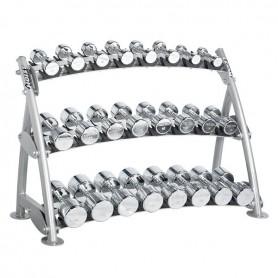 Support de cloches de beauté Hoist Fitness pour 12 paires d'haltères chromés (CF-3462