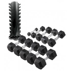 Body Solid Hexagon dumbbell set 1-10kg incl. round vertical stand (HEXSETREK)