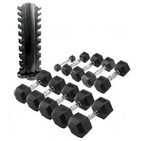 Body Solid  Hexagon-Kurzhantelsatz 1-10kg inkl. Rundständer vertikal (HEXSETREK)
